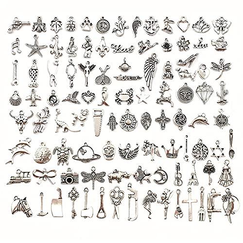QWESHTU Dijes de Pulsera, Colgantes de Plata tibetana Mixta para Bricolaje, Accesorios para Hacer Joyas, Collar de Pulsera, Suministros de 100 Piezas