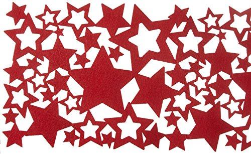 Tischläufer Sterne Filz Weihnachten rot grau Creme Weihnachtsläufer Tischwäsche Weihnachtsdeko Läufer Dekoration Tischdeko Tischdecke ausgefallen modern Cut Out (Rot)