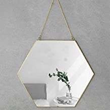 "Foo Foo Hanging Wall Mirror Decor, Gold Mirror Color, Hexagon Mirrors Wall Deco | Size 30X26 cm 11.8"" by 10.3"" 