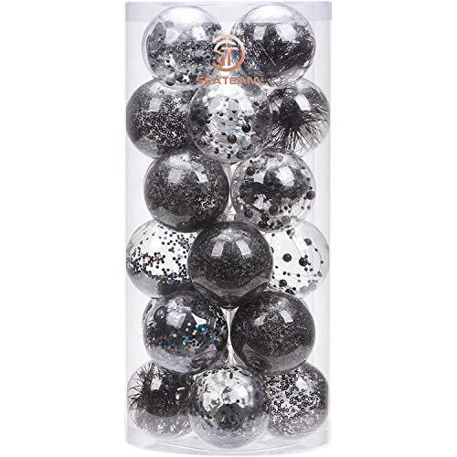 """Sea Team 70mm/2.76"""" Adornos Variados Transparentes Bolas de Navidad,Decoraciones Ornamentales Resistente.para Colgar en el árbol de Navidad,Paquete de Regalar Portátil Set de Navidad(24pcs)"""
