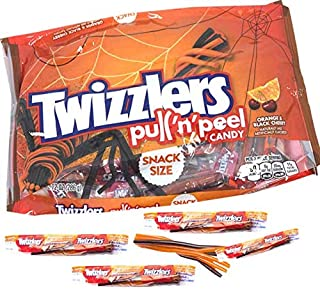 Twizzlers Halloween Edition Orange and Black Cherry Pull 'n Peel Individually Wrapped Candy 10.12 ounces (20 Pieces)