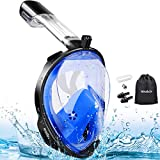 MOSFiATA Snorkel Mask, 180° Panoramic View Full Face Diving Mask Anti-Fog Anti-Leak Safety Diving with Detachable Action Camera Mount for Adults and Youth