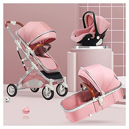 HAQMG Silla De Paseo Cochecito para Recién Nacido Cuna Reversible para Bebé A Carrito De Lujo para Niños Pequeños Carrito Plegable Bidireccional, Amortiguador Portavasos Mosquitera …… (Color : Pink)