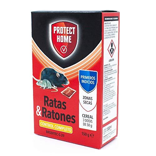 Solabiol Protect Home-Raticida en Cereal de Alta eficacia y Poder de atracción para Zonas secas. Ratas y Ratones, 150gr, Rojo, 150 G