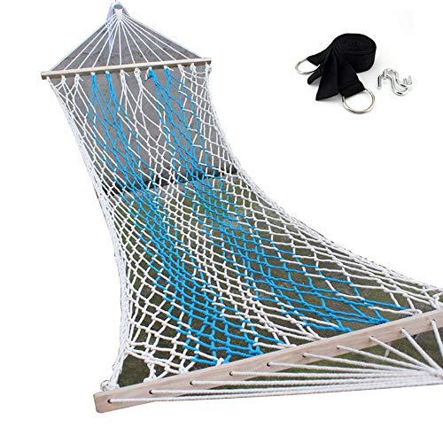 FORIDE Double Wide Leisure hammock Outdoor Sport Netted Hammock Cotton Spreader Bar Rope Hammock Suitable for Summer Beaches, Self-driving Tours, Picnics, Barbecues (Blue)