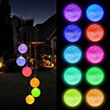 FUNPENY Solar Ball Wind Chimes, Waterproof Color Changing Hanging LED Lights Mobile Wind Chime for Outdoor Yard Garden for Mom