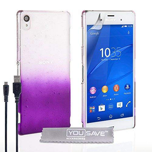 Yousave Accessories Custodia Duro Goccia di Pioggia e Cavo Micro USB per Sony Xperia Z3, Viola