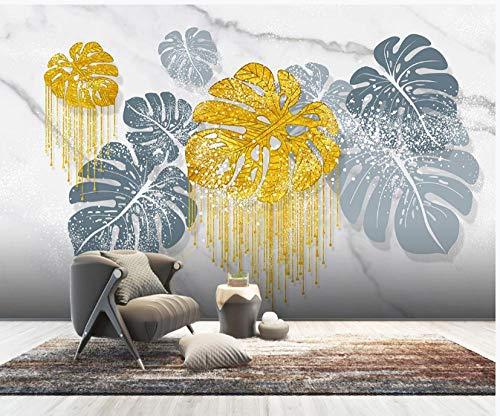 Handgemaltes Kristall Vergoldetes Vergoldetes Tropisches Pflanzenblatthintergrundtapetenpapier-150 * 105Cm