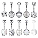 LAURITAMI 10pcs Piercing Ombligo Set Acero Quirúrgico Barbells Retainer Pearl Cristal CZ Cuerpo Percing Joyas 10mm 14G