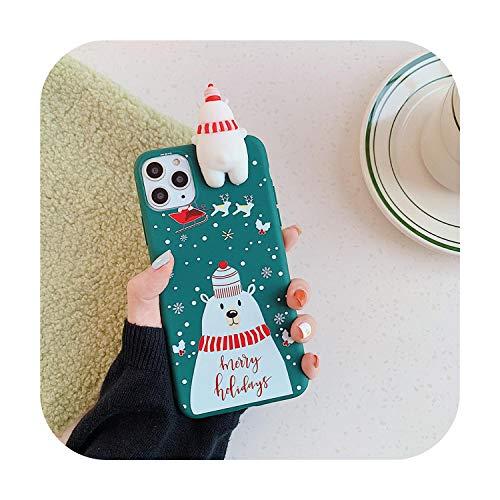 Linda muñeca 3D de dibujos animados de Navidad de Papá Noel reno árbol suave teléfono caso para iPhone 11 Pro Max X XS XR 7 8 Plus SE 2020 cubierta regalo J-para iPhone 11 Pro