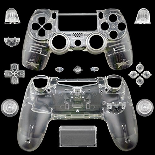 WPS Matte Controller Case Collection Full Housing Shell + Full Buttons for PS4 Playstation 4 Dualshock 4 (GEN 1 Controllers ONLY) (Transparent Clear)