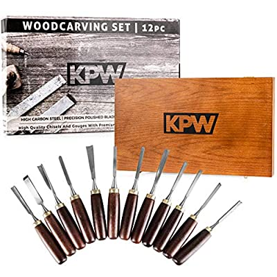 KPW Professional Wood Chisel Set with Wooden Presentation Box, Woodworking & Carving Tools with Chrome Vanadium Steel Blades & Walnut Handles, Lifetime Replacement, Ergonomically Designed from KPW