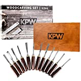 KPW Professional Wood Chisel Set with Wooden Presentation Box, Woodworking & Carving Tools with Chrome Vanadium Steel Blades & Walnut Handles, Lifetime Replacement, Ergonomically Designed