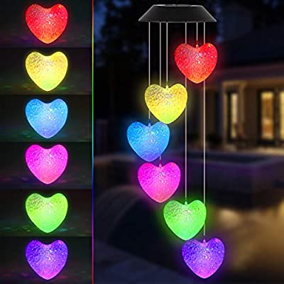 Heart Solar Wind Chimes, Color-Changing Outdoor Decoration Waterproof LED Memorial Wind Chime Solar Powered Colorful Light for Home Party Yard Garden