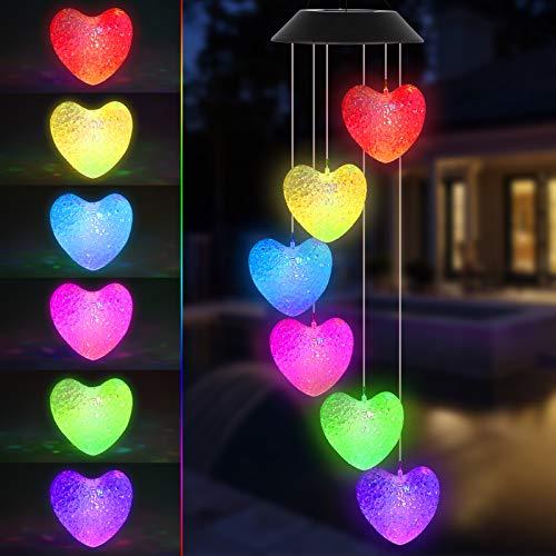EEEKit Solar Windspiele LED Licht Outdoor Garten Liebe Herz LED Beleuchtung wasserdichte Wind Glockenspiel Hängelampe Farbwechselnde Dekor Solarlicht für Zuhause Party Hof Garten