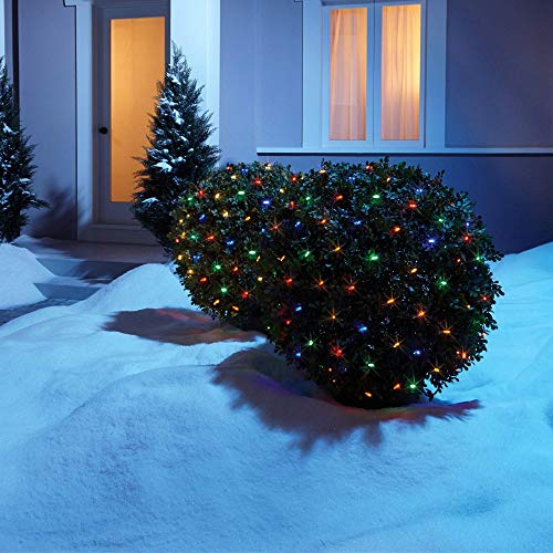 NOMA LED Net Christmas Lights | 100-Count Mini Lights | 4 ft x 4 ft Mesh | Outdoor/Indoor | Perfect for Bushes or Trees | Multi-Color