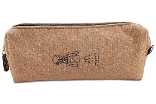 Katara 1800 Trousse à Crayons Rangement de Stylos, Fineliners - Étui à Crayons École - Manequin de Couture, Marron