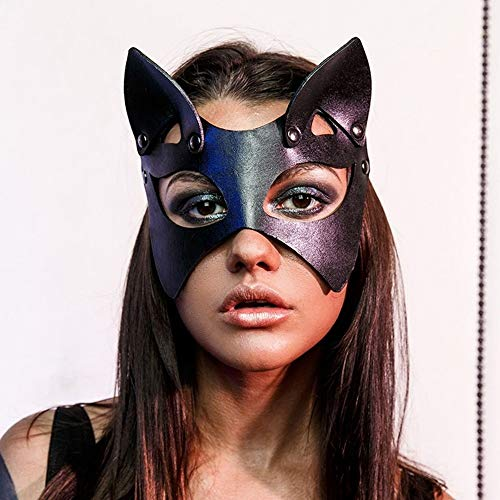 New Sexy Cosplay Rabbit Bunny Leather Mask BDSM Fetish Erotic Cat Ear Halloween Rave Carnival Catwoman Masquerade Mask (EM-029)