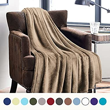 Bedsure Flannel Fleece Luxury Blanket Camel Throw Lightweight Cozy Plush Microfiber Solid Blanket