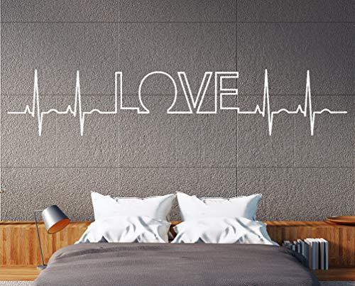 tjapalo® a103 Wandtattoo Love Wandtattoo Schlafzimmer Liebe romantisch Wandtattoo liebessprüche Herzschlag Herzklopfen, Farbe: Schwarz, Größe: B58xH13cm