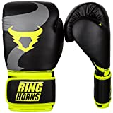 Ringhorns Charger Guantes de Boxeo, Unisex Adulto, Negro/Amarillo, 12oz