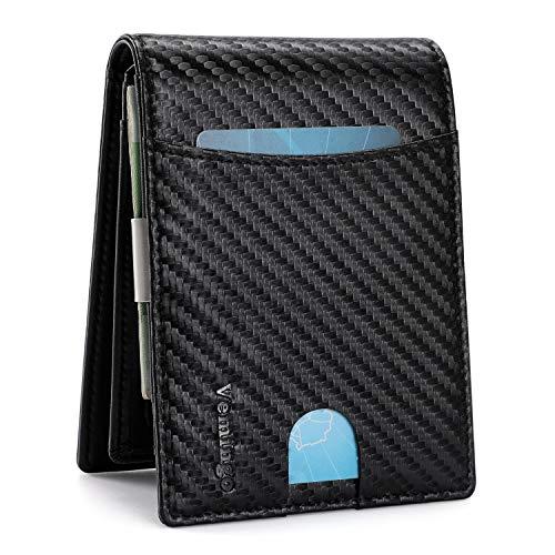 Vemingo Billetero de Hombre con Bolsillo de Moneda/Cartera Piel Hombre con Clip y RFID Bloqueo para Varias Tarjetas personales(Negro)