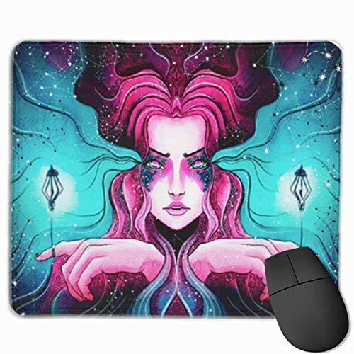 Nettes Gaming-Mauspad, Schreibtisch-Mauspad, kleine Mauspads für Laptop-Computer, Mausmatte Schönes junges Mädchen mit leuchtenden Laternen, die an ihren Fingern gebunden sind