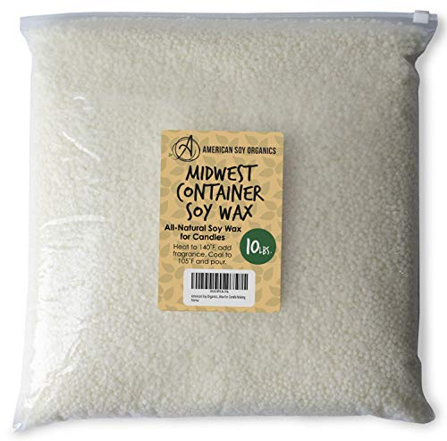 American Soy Organics - 100% Midwest Soy Container Wax Beads for Candle Making, 10 lb Bag