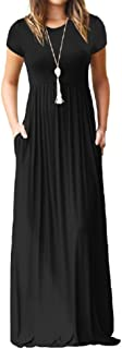 PRIMODA Women's Casual Maxi Dress with Pockets Plain Loose Swing Short Sleeve T-Shirt Long Dresses