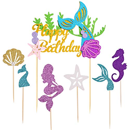 Mermaid Cake Topper,Since1989 Mermaid cake Topper for Baby Shower, Under the Sea, Brithday Party. Mermaid Birthday Party Supplies favors Decorations