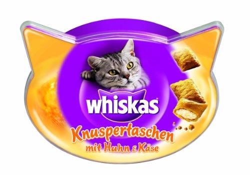 Whiskas Snacks Knuspertaschen mit Huhn und Käse, 4er Pack (4 x 60 g)