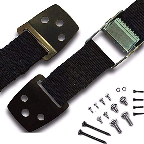 Anti-Tip Straps - Anchor Flat Screen TV or Furniture to Baby Proof- Heavy Duty Safety Straps with Metal Plates - All Mounting Hardware Included (1-Pair)