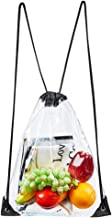 Clear Drawstring Bag - Clear Gym Drawstring Backpack for Stadium, Concert Fans, Travel and Works (Black)