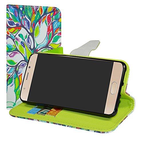 LiuShan Wiko Ufeel Prime Hülle, Brieftasche Handyhülle Schutzhülle PU Leder mit Kartenfächer & Standfunktion für Wiko Ufeel Prime Smartphone (mit 4in1 Geschenk verpackt),Love Tree