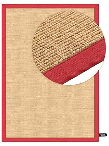 benuta Sisal Teppich mit Bordüre Rot 160x230 cm | Naturfaserteppich für Flur und Wohnzimmer