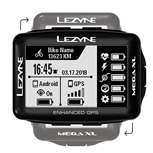 Lezyne Computer Mega XL Fahrrad GPS-gerät, schwarz, One Size