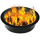 Doniks Fire Pit Ring 42 inches Outside / 36 inches Inside Diameter Heavy 2mm Metal Steel Ring-DIY fire Pit Ring Above or on The Ground for Outdoor Camping, Backyard (42 x 36 x 10 Inch)