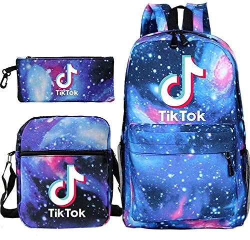 Mochila TIK Tok Mochila Escolar para Estudiantes + Bolso pequeño + Bolso para bolígrafo Conjunto de Tres Piezas-dieciséis
