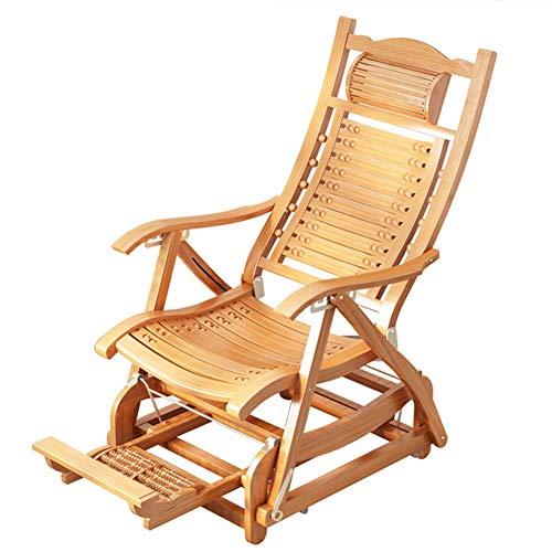 ZR- Rocking Chair en Bois Extérieur Réglable en Forme De S Lounge Chaise Pliante De Jardin Fauteuil Dossier Sun Loungers Old Man Chaise Siesta À Pied Massage