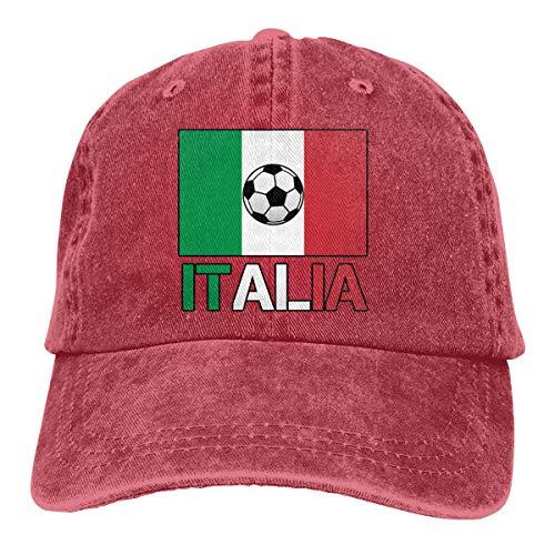 ONGH Männer Frauen Distressed Cotton Denim Baseball Cap Italien Flagge Fußball verstellbare Snapback Cap