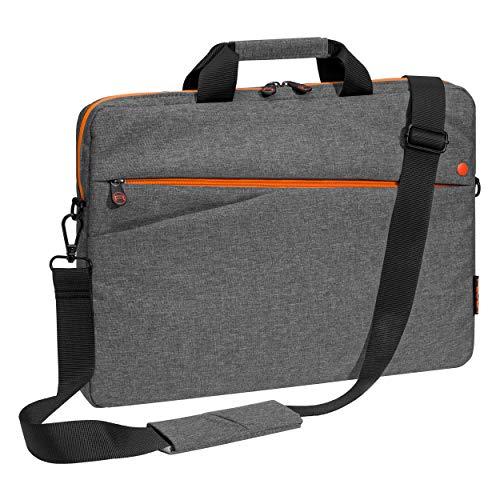 PEDEA Laptoptasche Fashion Notebook-Tasche bis 17,3 Zoll (43,9 cm) Umhängetasche mit Schultergurt, grau/orange