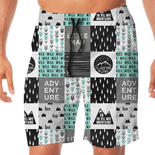 Little Man Adventure Wild Black and Teal Men's Beachwear Slim Fit Summer Holiday Swim Trunks Quick Dry Striped Swim Shorts-Large