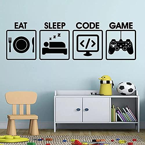 Gamer Väggdekal Ät sömn Spelkod Programmering Controller Video Vinylkonst Heminredning Sovrum Avtagbara Väggdekaler Pojke 57X16 Cm