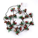 Guirlandes de Noël, 6.5FT 20 LED Guirlande de Noël Guirlandes de Noël Sapin de Noël Cônes de pin Guirlandes avec cloches pour la décoration intérieure de jardin de vacances en plein air, à piles