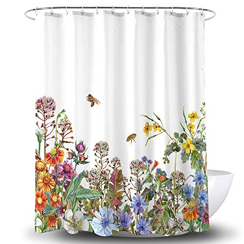 BECAN Flower Shower Curtain Beautiful Watercolor Hand Painted Wildflowers Field Plants Garden Herbs Leaves Polyester Fabric Waterproof Layer Thickening Shower Curtain 72X72Inches