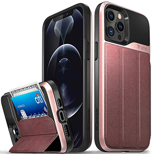 "Vena vCommute Wallet Case Compatible with Apple iPhone 12 Pro Max (6.7""-inch), (Military Grade Drop Protection) Flip Leather Cover Card Slot Holder with Kickstand - Rose Gold"