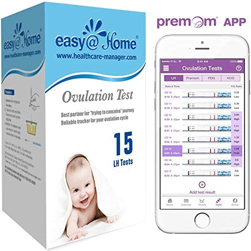 Easy@Home Ovulation Test Strips, 25 Pack Fertility Tests, Ovulation Predictor Kit, FSA Eligible, Powered by Premom Ovulation Predictor iOS and Android App, 25 LH Strips