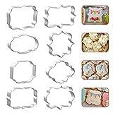 8 PCS Plaque Cookie Cutter Frame Shapes Sugar Sign Cookie Cutters Name Plate Cookie Cutter for Birthday Wedding Baby Shower Cookies Fondant Decorations