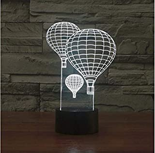 3D Hot Air Balloon Night Light 7 Color Change LED Table Desk Lamp Acrylic Flat ABS Base USB Charger Home Decoration Toy Brithday Xmas Kid Children Gift