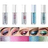Emirde 5 Colors Liquid Eyeshadow Glitter Liquid Set Marble Shimmer Liquid Eye Shadow Long Lasting Waterproof Liquid Eyeshadow Set Metallic Makeup Set
